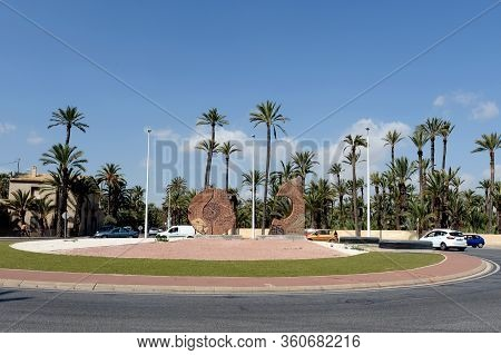 Elche, Spain - September 20, 2018:a Modern Sculptural Exhibition On Alcalde Vicente Quiles Avenue In