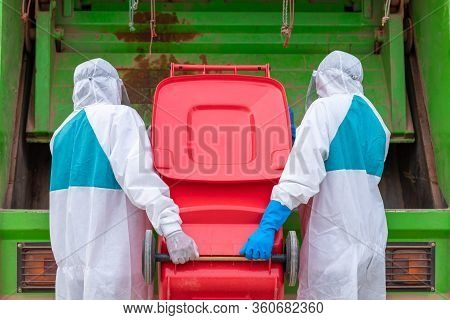 Worker Wear Ppe Protective Clothing Against Corona Virus Of Infectious Waste Garbage Collector Truck