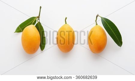 Marian Plum With Leaf Isolated On White Background
