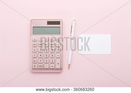 Rose Gold Calculator With Pen And Business Card