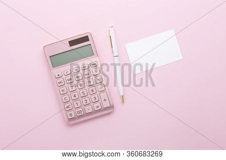 Pink Gold Calculator With Pen And Business Card