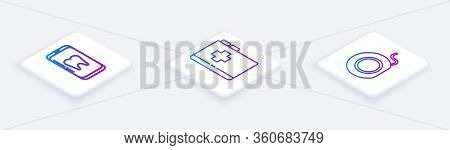 Set Isometric Line Online Dental Care, Clipboard With Dental Card And Dental Floss. White Square But