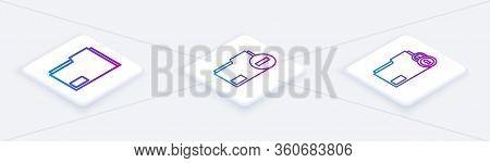 Set Isometric Line Document Folder, Document Folder With Minus And Folder And Lock. White Square But
