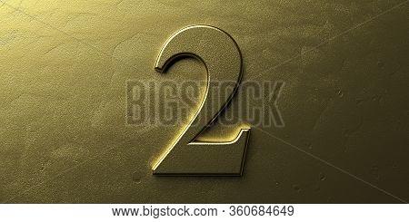 Two, Gold Color 2. Shiny Digit 2 On Golden Bright Background. 3D Illustration