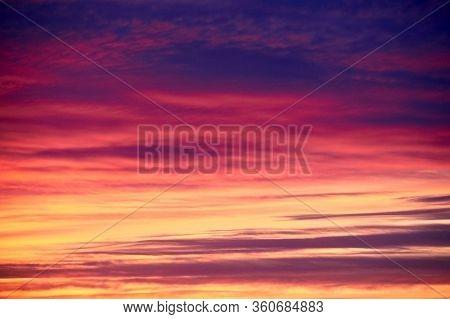 Beautiful Sunset. Multi Colored Clouds. Landscape, Sky. Horizontal Background, Screensaver.