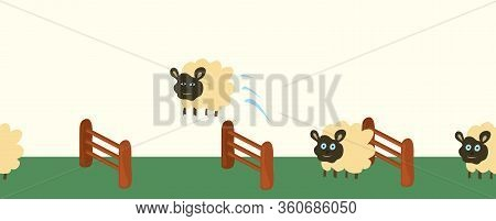 Vector  Funny Rams Jump Over Hedges Seamless In Length. Overcome Obstacles Endlessly