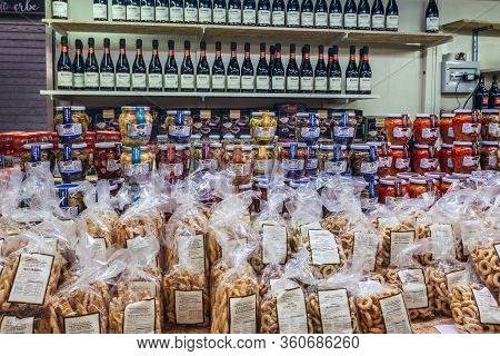 Bologna, Italy - September 30, 2019: Shop With Taralli Traditional Snacks In Covered Food Market Cal