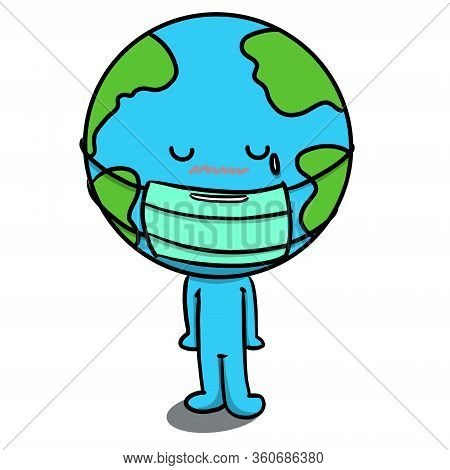 Isolated Cute Doodle Cartoon Character Of Planet Earth Wearing Medical Mask On White Background. Con