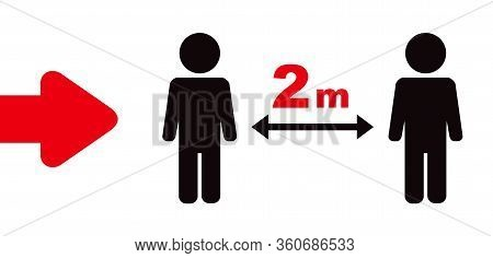 Keeping A Distance Vector Sign. 2 M Rule. Social Distancing Vector Icon. Red-black Sign On A White.
