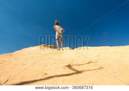Roussilion,france-august 13,2016:child Play With The Ocher Earth Near Roussillon In France During A