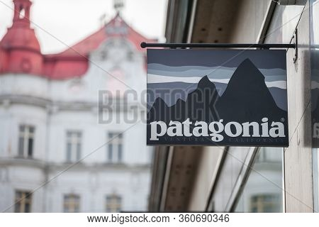 Prague, Czechia - November 1, 2019: Patagonia Logo In Front Of Their Store In Prague. Patagonia Is A