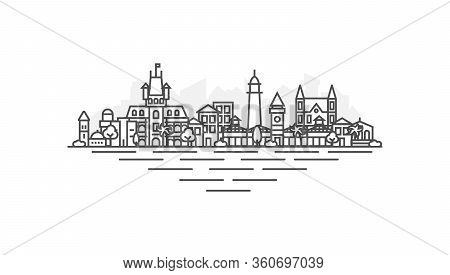 Georgetown, Guyana Architecture Line Skyline Illustration. Linear Vector Cityscape With Famous Landm