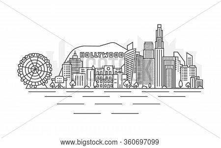 Los Angeles City, Usa Architecture Line Skyline Illustration. La Background. Linear Vector Cityscape