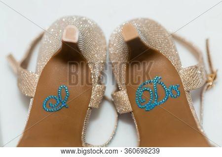 Bridal Wedding High Heel Shoes With I Do Sticker. Something Blue.