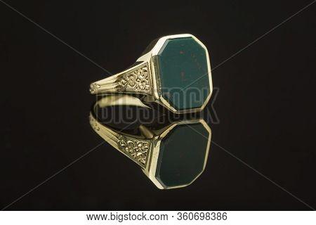 Mens Bloodstone Gold Ring