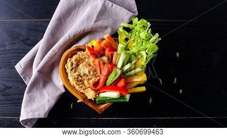 Healthy Homemade Hummus With Assorted Fresh Vegetables. Hummus Plate With A Variety Of Vegetables. H