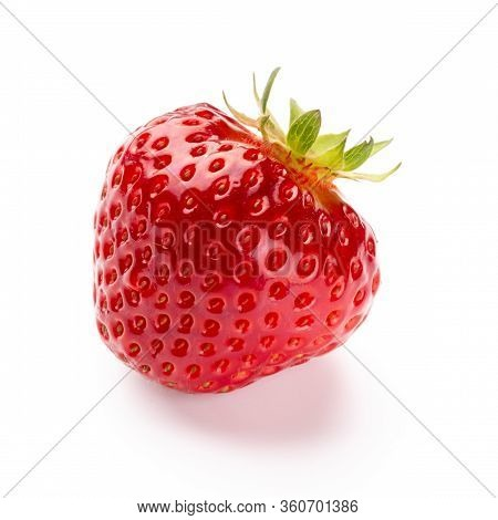 Isolated Strawberry. Single Strawberry Fruit Isolated On White Background, With Clipping Path - Imag