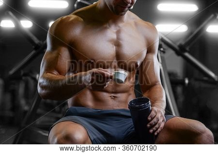 Bodybuilder Protein Powder After Fitness Workout