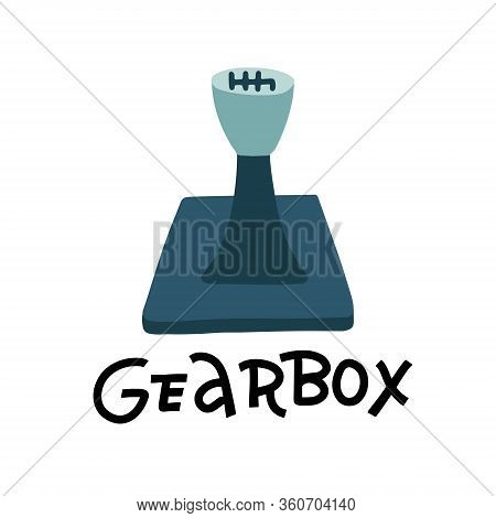 Mechanic Gearbox Icon. Flat Illustration Of Mechanic Gearbox Vector Icon For Web Design With Hand Le