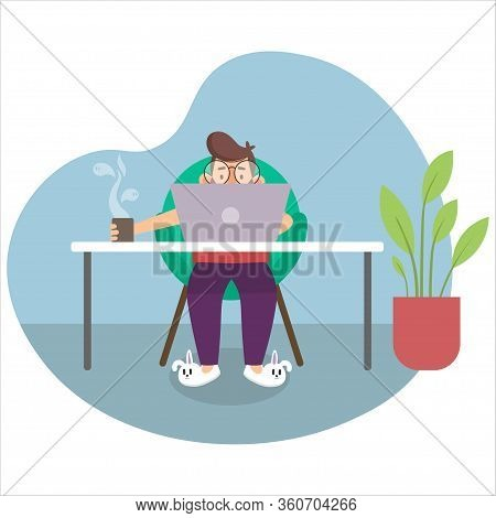 Technology, Home Office, Flat Vector Concept Digital Illustration, Home Office, A Freelancer Guy Wor