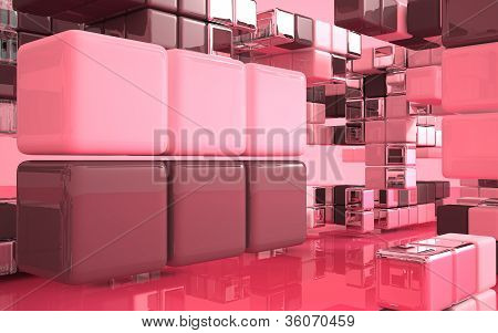 Abstract architecture (Composition, matte, glossy, glass cubes)