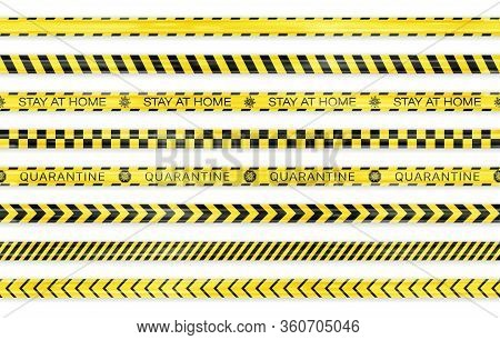 Realistic Black And Yellow Seamless Covid-19 Warning Stripe Lines Isolated. Stop, Police, Warning, D