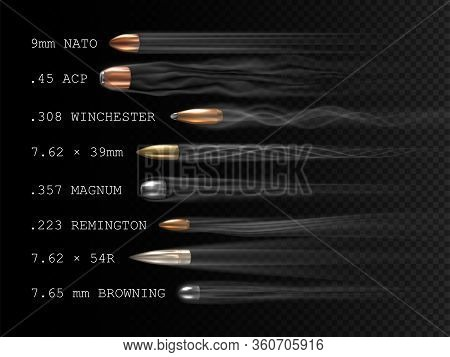 Realistic Flying Bullet With Smoke Trace And Caliber Inscriptions, A Set Of Shot Bullets In Freeze T