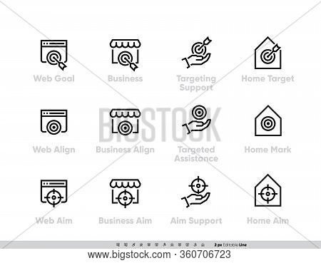 Business Targeting Focus And Perspective Icon Set. Web Goal, Support, Business Align, Targeted Assis