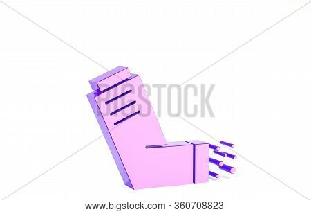 Purple Inhaler Icon Isolated On White Background. Breather For Cough Relief, Inhalation, Allergic Pa