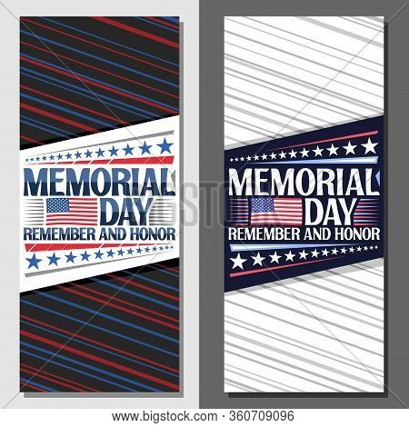 Vector Layouts For Memorial Day With Copy Space, Decorative Leaflet With National Red And White Stri