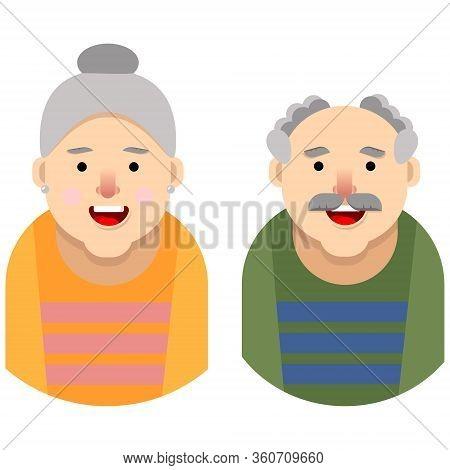 An Elderly Man And An Elderly Woman.flat Illustration.cartoon Style.old People.vector Illustration