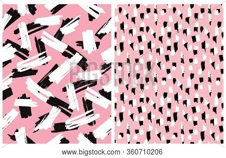Abstract Hand Drawn Brush Stripes Vector Patterns. Black, Pink And White Leopard Skin Print. Freehan
