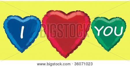 Three hearts on yellow