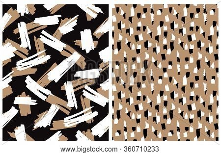 Abstract Hand Drawn Brush Stripes Vector Patterns. Black, Brown And White Leopard Skin Print. Freeha