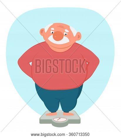 Plump Senior Caucasian Man Standing On Floor Scale.