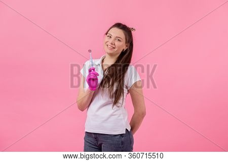 Spend Less On Dentist. Happy Girl Hold Brushes On Pink Background.dentist And Dentistry. Dentist Tha