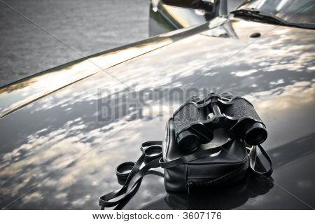 Binoculars On A Hood