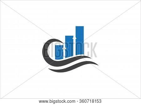 Business Financial And Accounting Logo Design Template. Marketing Chart Financial Company Logo. Fina