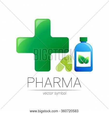 Pharmacy Vector Symbol With Blue Bottle And Green Cross In Circle, Leaf, For Pharmacist, Pharma Stor