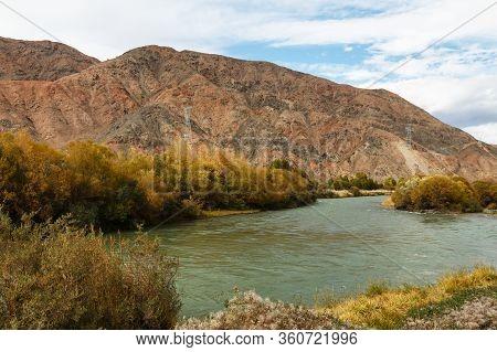Chu River In Kyrgyzstan, Border Between The Issyk-kul Region And The Naryn Region
