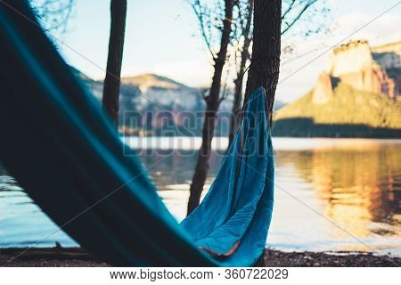 Hammock For Relaxing On Background Of Nature Lake, Chilling Outdoor, Traveler Recreation Mountain La