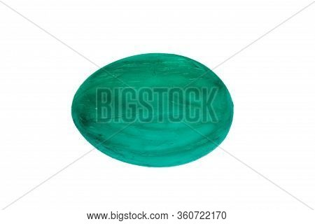 Happy Easter Card. Colorful Egg On Isolated White Background. Copy Space For Text.