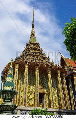 Phra Mondop (the Library) And Phra Sri Rattana Chedi In Wat Phra Kaew Commonly Known In English As T