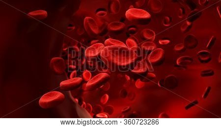 Red Blood Cells Clot In Vein. Scientific And Medical Abstract Concept. Transfer Of Important Element