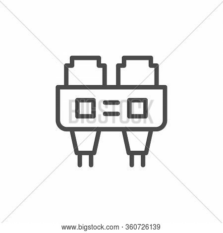 Optical Port Line Outline Icon Isolated On White. Hardware Element, Jack, Adapter, Optic Fiber Sign.