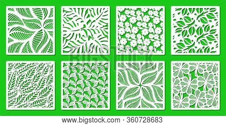 Set Of Square Frames With A Floral Pattern Of Leaves, Flowers, Twigs. Design Element, Sample Panel F