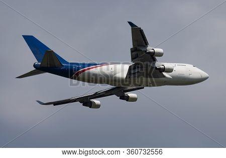 Budapest / Hungary - May 27, 2018: Aerotrans Cargo Boeing 747-400 Er-jai Cargo Plane Departure And T