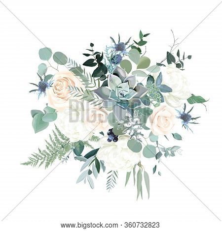 Silver Sage Green, Pink Blush And White Flowers Vector Design Spring Bouquet. Peony, Rose, Succulent