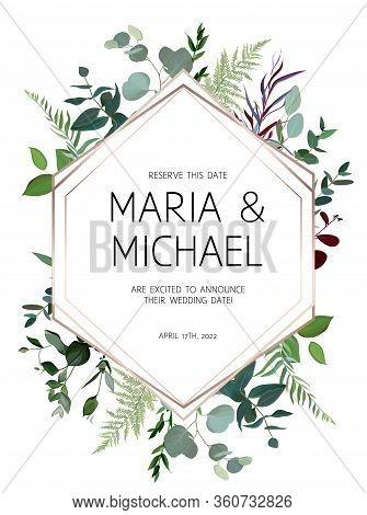 Wedding Vector Design Frame Arranged From Leaves And Flowers. Agonis, Palm Leaf, Fern, Eucalyptus Ve