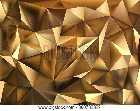 Golden Foil Polygonal Vector Texture. Magic Rich Glowing Background. Stylish Fashion Triangles Backd